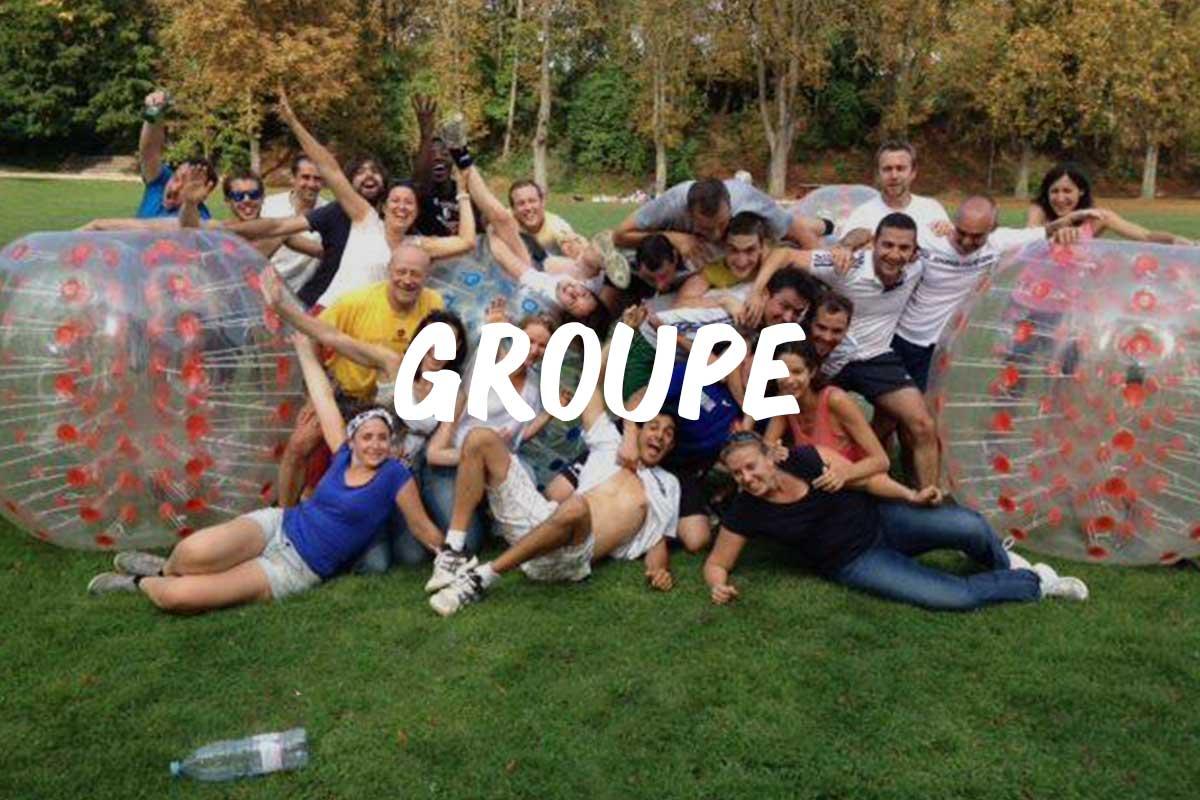 Groupe d'amis ou de famille au bubble foot reims ardennes marne
